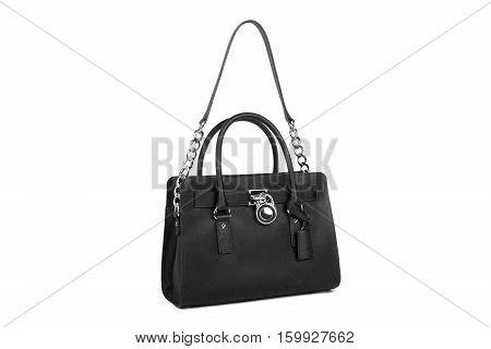 Black leather handbag isolated on white background