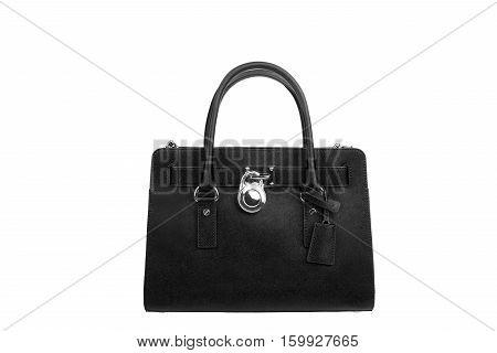 Black Leather Women's Handbag On White Background