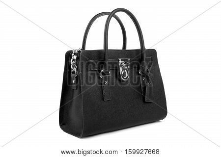 Black leather handbag isolated on white background
