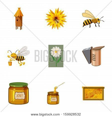 Apiary icons set. Cartoon illustration of 9 apiary vector icons for web