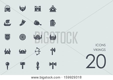 Vikings vector set of modern simple icons