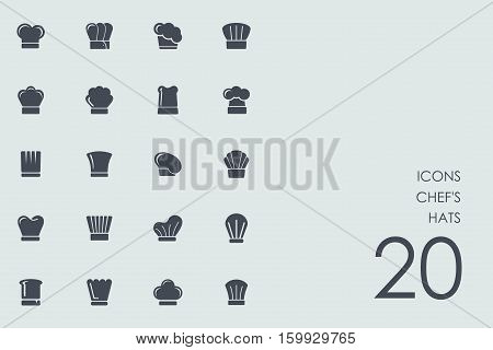 chef's hats vector set of modern simple icons