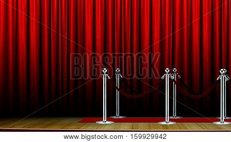 Red carpet on stage and curtain with barrier
