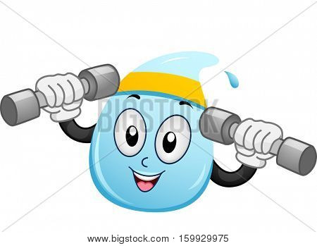 Mascot Illustration of a Water Droplet with a Headband Wrapped Around its Head Lifting Dumbbells