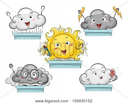 Mascot Illustration Featuring the Personification of Different Weather Conditions