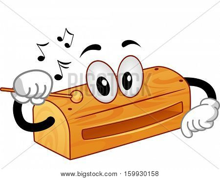 Mascot Illustration of a Wood Block Tapping Itself with a Wooden Stick to Produce Sounds