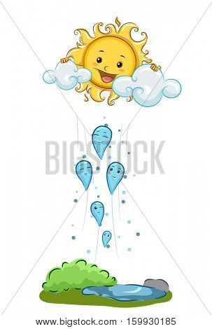 Illustration Demonstrating Condensation Through Mascots of Water Droplets Rising Towards a Mascot of the Sun