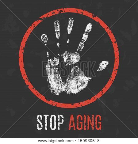 Conceptual vector illustration. Human diseases. Stop aging.