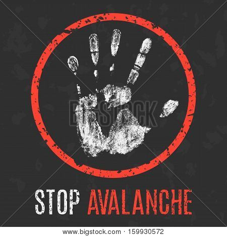 Conceptual vector illustration. Natural disasters. Stop avalanche.