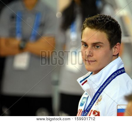 Hong Kong China - Oct 29 2016. MOROZOV Vladimir (RUS) at the Victory Ceremony of Men's Breaststroke 50m. FINA Swimming World Cup Victoria Park Swimming Pool.