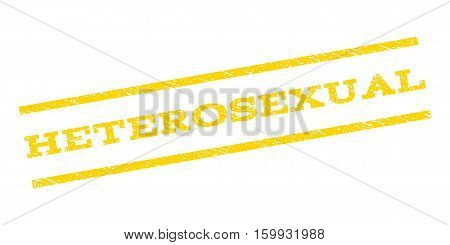 Heterosexual watermark stamp. Text caption between parallel lines with grunge design style. Rubber seal stamp with dirty texture. Vector yellow color ink imprint on a white background.