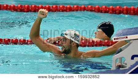 Hong Kong China - Oct 29 2016. Olympic and world champion swimmer LE CLOS Chad (RSA) after the Men's Butterfly 200m Final. FINA Swimming World Cup Victoria Park Swimming Pool.