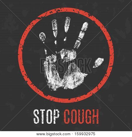 Conceptual vector illustration. Human diseases. Stop cough.
