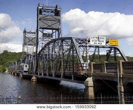 Stillwater lift bridge entrance on the St. Croix River.