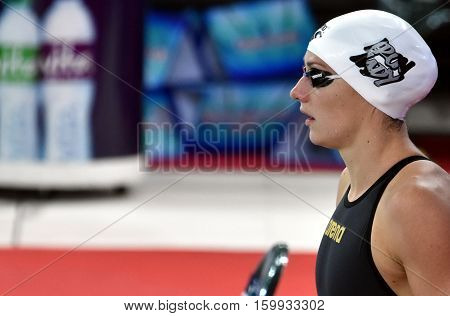 Hong Kong China - Oct 29 2016. Olympic world and European champion World record holder swimmer Katinka HOSSZU (HUN) at the start in Women's Individual Medley 200m Final. FINA Swimming World Cup.
