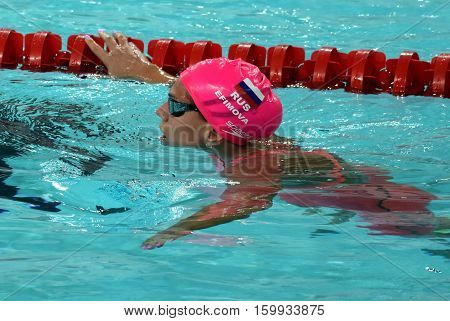 Hong Kong China - Oct 29 2016. Olympian and world champion swimmer Yulia YEFIMOVA (RUS) after the Women's Individual Medley 200m Final. FINA Swimming World Cup Victoria Park Swimming Pool.