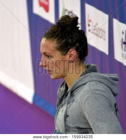 Hong Kong China - Oct 29 2016. Olympic world and European champion Katinka HOSSZU (HUN) at the Victory Ceremony of the Women's Backstroke 50m. FINA Swimming World Cup Victoria Park Swimming Pool.