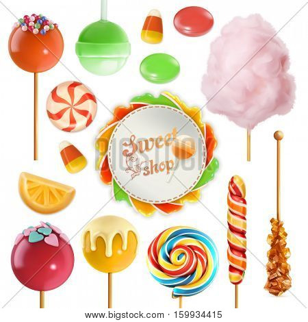 Candy set. Swirl caramel. Cotton candy. Sweet lollipop. 3d vector icon