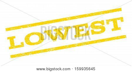 Lowest watermark stamp. Text tag between parallel lines with grunge design style. Rubber seal stamp with dust texture. Vector yellow color ink imprint on a white background.
