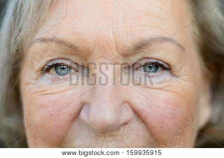 Attractive Senior Woman With Blue Eyes