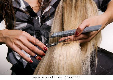closeup of hairdresser doing haircut