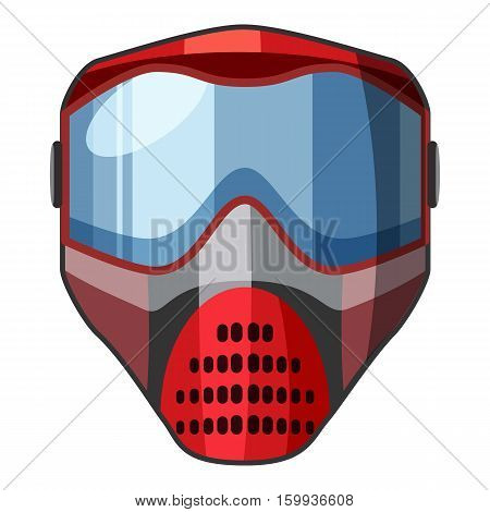 Red mask for paintball icon. Cartoon illustration of red mask for paintball vector icon for web