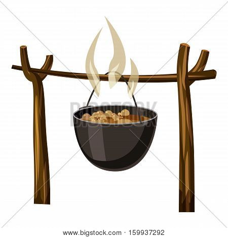 Soup on camp fire icon. Cartoon illustration of soup on camp fire vector icon for web