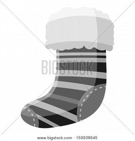 Christmas sock icon. Gray monochrome illustration of christmas sock vector icon for web