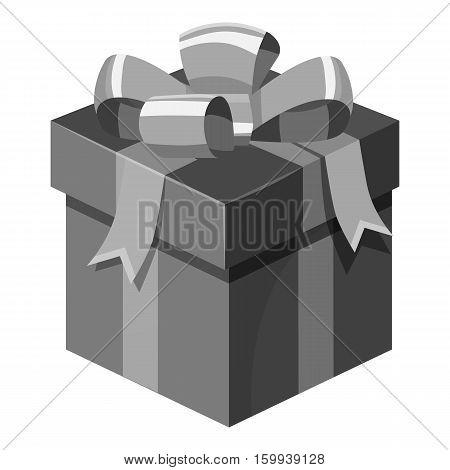 Christmas box with bow icon. Gray monochrome illustration of Christmas box with bow vector icon for web