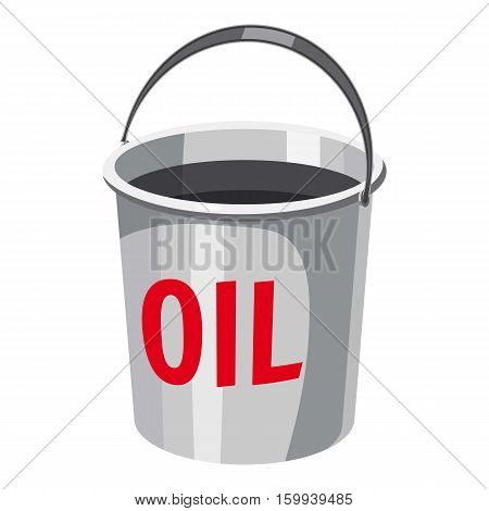 Oil in bucket icon. Cartoon illustration of oil in bucket vector icon for web