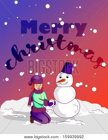 Cartoon characters vector illustration. Merry christmas, hallo winter. boy and girl.