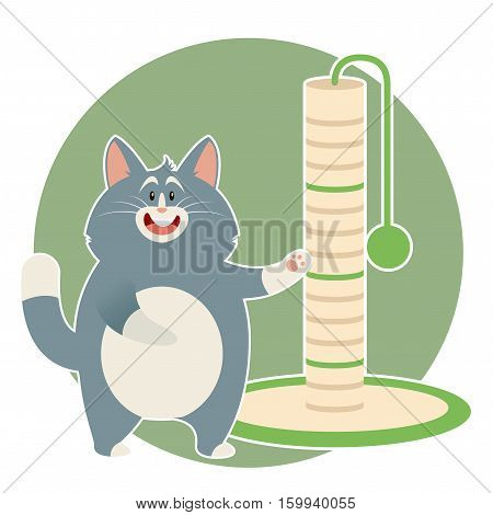 Vector image of the flat Cat and its Scratching Posts
