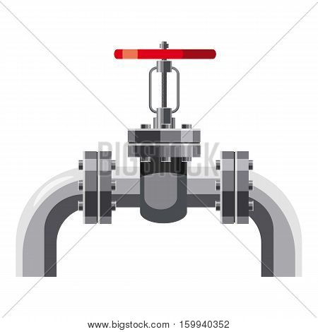 Oil pipe with valves icon. Cartoon illustration of oil pipe with valves vector icon for web