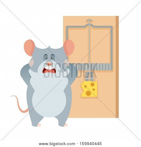Vector image of the flat Grey mouse and a mouse trap