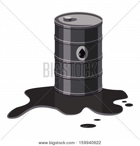 Metal barrel with oil icon. Cartoon illustration of metal barrel with oil vector icon for web