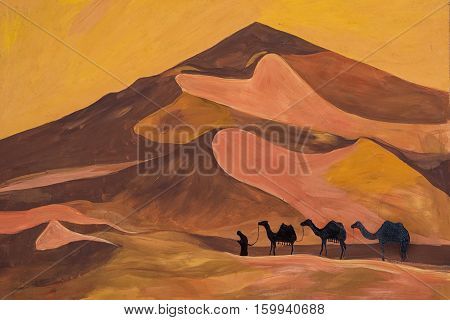 Sketch of the caravan with camels in the scorching desert.