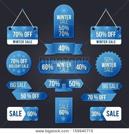 Winter sale tag set for the Holiday sales and Black Friday period