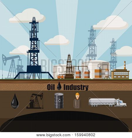 Oil factory concept. Cartoon illustration of oil factory vector concept for web