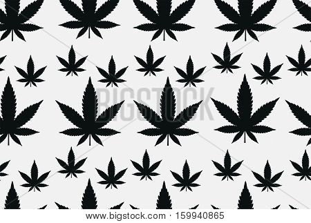 Cannabis marijuana weed leaf silhouette narcotic seamless pattern texture design. Vector top view closeup horizontal black beautiful flat top illustration isolated white background.