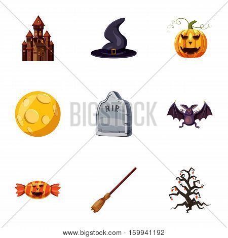 All saints day icons set. Cartoon illustration of 9 all saints day vector icons for web