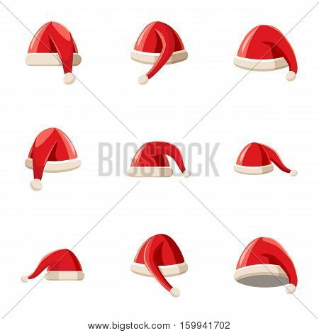 Santa Claus new year hat icons set. Cartoon illustration of 9 Santa Claus new year hat vector icons for web