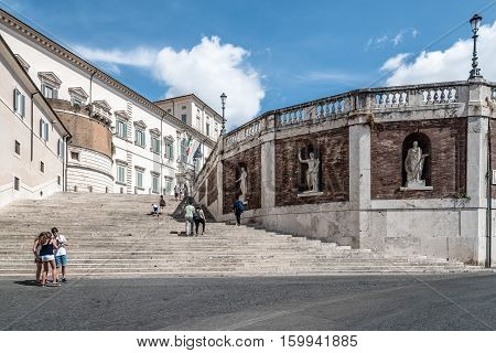 Rome Italy - August 18 2016: The Quirinal Palace. It is a historic building in Rome official residence of the President of the Italian Republic.