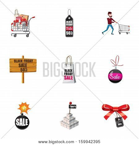 Sale icons set. Cartoon illustration of 9 sale vector icons for web