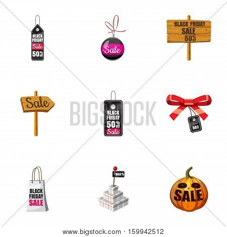 Black friday icons set. Cartoon illustration of 9 black friday vector icons for web