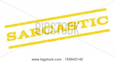 Sarcastic watermark stamp. Text caption between parallel lines with grunge design style. Rubber seal stamp with unclean texture. Vector yellow color ink imprint on a white background.