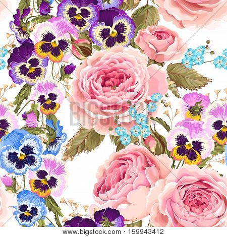 Vintage roses and pansies vector seamless background