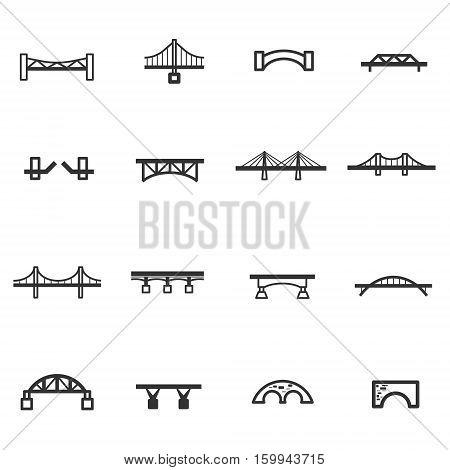 bridge line icon set vector eps 10