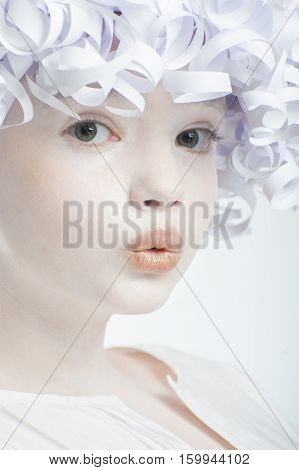 Portrait Of A Girl With A White Smooth Skin And Curly Hair Paper.