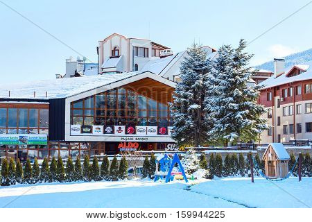 Bansko, Bulgaria - November 30, 2016: Passage Bansko shop in bulgarian ski resort