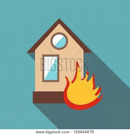 Burning house icon. Flat illustration of burning house vector icon for web